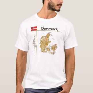 Denmark Map + Flag + Title T-Shirt