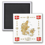 Denmark Map + Flags Magnet