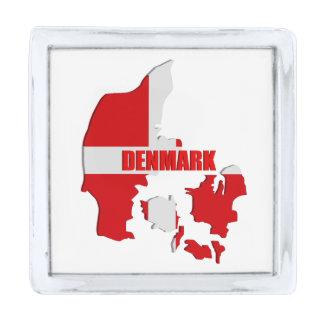 Denmark map silver finish lapel pin