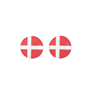 DENMARK Red And White Flag Earrings