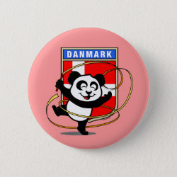 Round Button with Danish Rhythmic Gymnastics Panda design