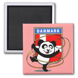 Square Magnet with Danish Rhythmic Gymnastics Panda design
