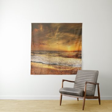 Beach Themed Denmark romantic sunset tapestry