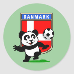 Round Sticker with Danish Football Panda design