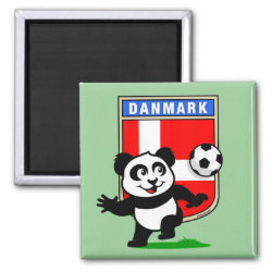 Square Magnet with Danish Football Panda design