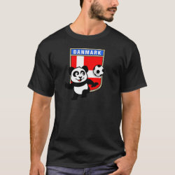 Men's Basic Dark T-Shirt with Danish Football Panda design