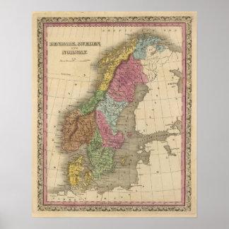 Denmark, Sweden, Norway Print
