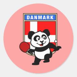 Round Sticker with Danish Table Tennis Panda design