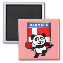 Square Magnet with Danish Table Tennis Panda design