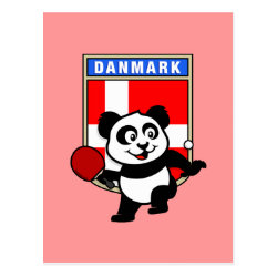 Postcard with Danish Table Tennis Panda design