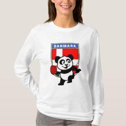 Women's Basic Long Sleeve T-Shirt with Danish Table Tennis Panda design