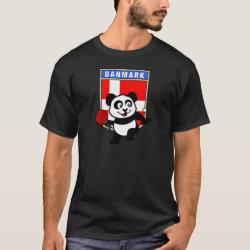 Men's Basic Dark T-Shirt with Danish Table Tennis Panda design