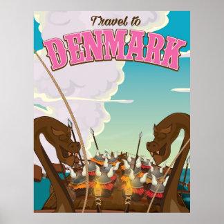 Denmark Vikings funny cartoon travel poster