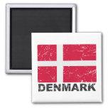 Denmark Vintage Flag 2 Inch Square Magnet