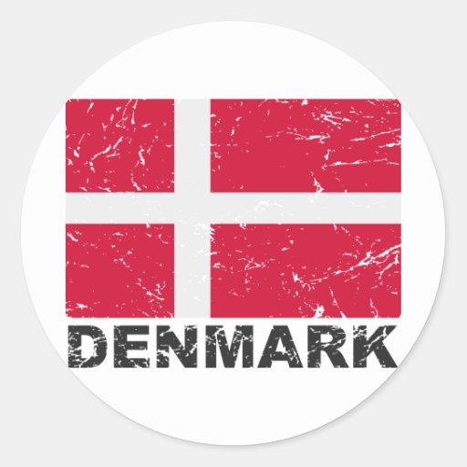 Denmark Vintage Flag Classic Round Sticker