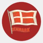 Denmark vintage flag Dansk fans gifts Round Stickers