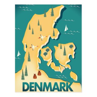 Denmark Vintage style map travel poster Postcard