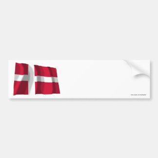 Denmark Waving Flag Car Bumper Sticker