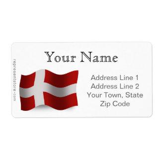 Denmark Waving Flag Label