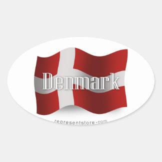 Denmark Waving Flag Oval Sticker