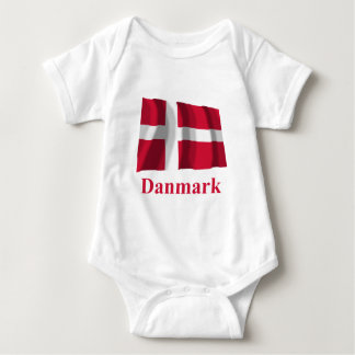 Denmark Waving Flag with Name in Danish Baby Bodysuit
