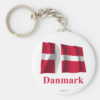Denmark Waving Flag with Name in Danish Basic Round Button Keychain