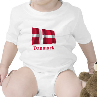 Denmark Waving Flag with Name in Danish T Shirt