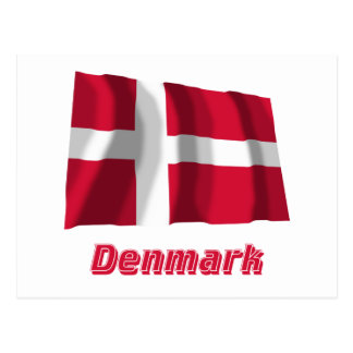 Denmark Waving Flag with Name Postcard