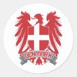Denmark Winged Classic Round Sticker