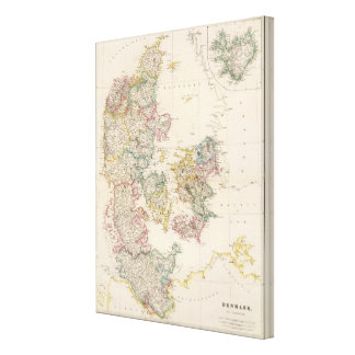 Denmark with inset map of Iceland Canvas Print