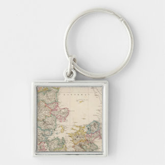 Denmark with inset map of Iceland Keychain