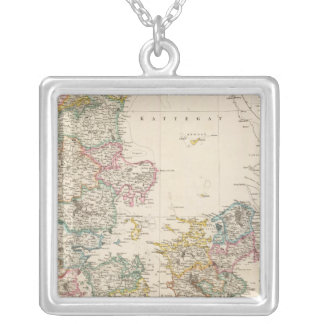 Denmark with inset map of Iceland Square Pendant Necklace