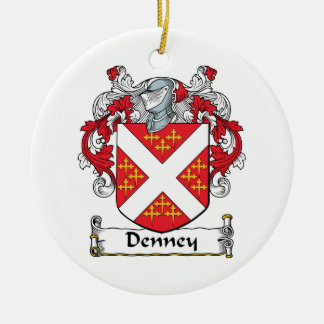 Denney Family Crest Double-Sided Ceramic Round Christmas Ornament