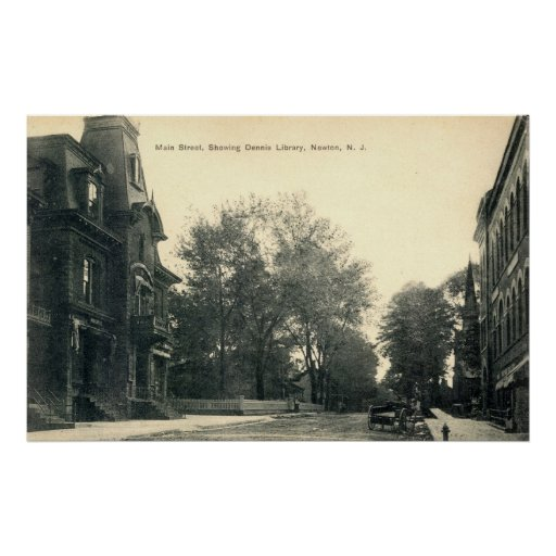 Dennis Library, Newton New Jersey 1908 vintage Poster