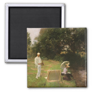 Dennis Miller Bunker Painting at Calcot by Sargent 2 Inch Square Magnet