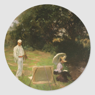 Dennis Miller Bunker Painting at Calcot by Sargent Classic Round Sticker