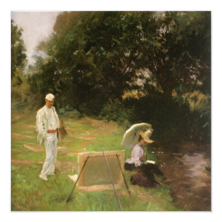 Dennis Miller Bunker Painting at Calcot by Sargent 5.25x5.25 Square Paper Invitation Card