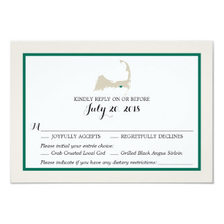 Dennis Port Cape Cod Map | Wedding RSVP menu Card