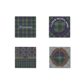 Denniston clan Plaid Scottish kilt tartan Stone Magnet