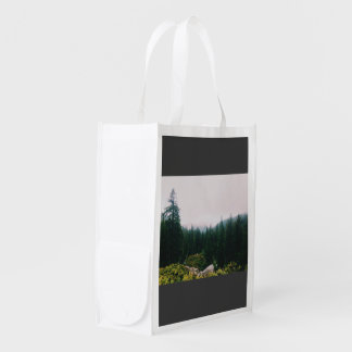 Dense forest of conical trees market tote