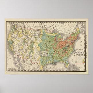 Densidad demográfica de Estados Unidos, 1890 Póster
