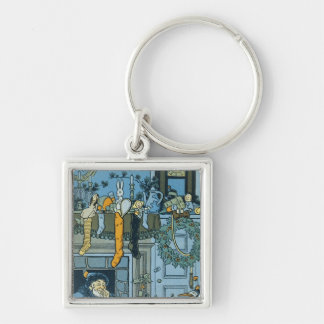 Denslow's Night Before Christmas Illustration Silver-Colored Square Keychain