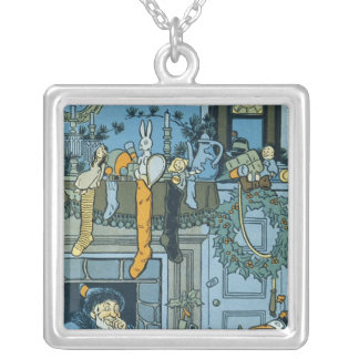 Denslow's Night Before Christmas Illustration Square Pendant Necklace