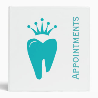 Dental Appointment Book Cute Crown Tooth Logo Blue Binder