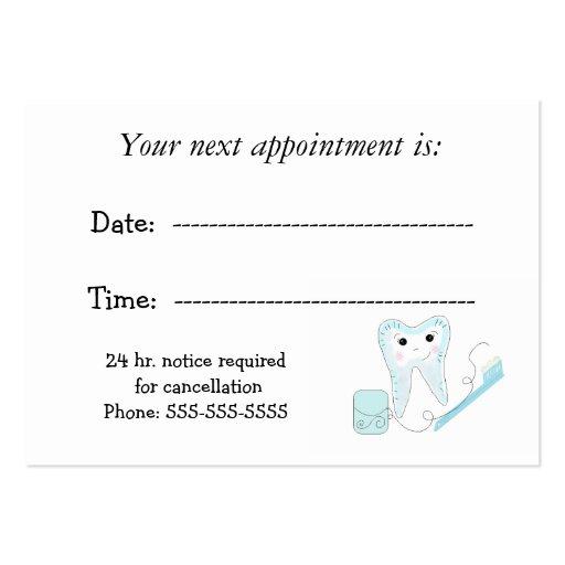 dental appointment reminder large business card