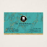 Dental Appointment Trendy Turquoise Marble Dentist Business Card