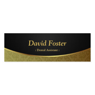 Dental Assistant - Black Gold Damask Double-Sided Mini Business Cards (Pack Of 20)