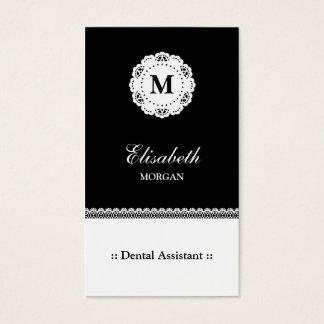 Dental Assistant Black White Lace Monogram Business Card