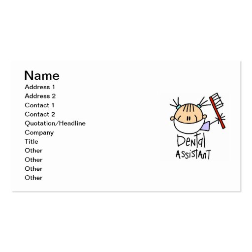 Dental Assistant Double-Sided Standard Business Cards (Pack Of 100)