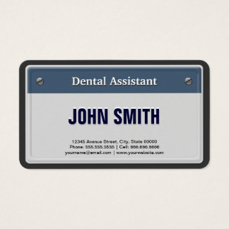 Dental Assistant Cool Car License Plate Business Card